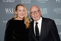 (L-R) Jerry Hall and Chairman of Fox News Channel Rupert Murdoch attend the WSJ. Magazine 2017 Innovator Awards at MOMA in New York, NY, on November 1, 2017. (Photo by Anthony Behar/Sipa USA)