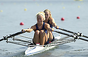 Trakai, LITHUANIA. USA JW2X, Bow, Stacey BOWEN  and Laura HILL (s), 2002 Junior World Rowing Championships, on Lake Galva Wednesday  07/08/2002 [Mandatory Credit: Peter Spurrier/ Intersport Images].AUS JW1X Rebecca Hally Hames 200208 Junior World Rowing Championships, Trakai, LITHUANIA