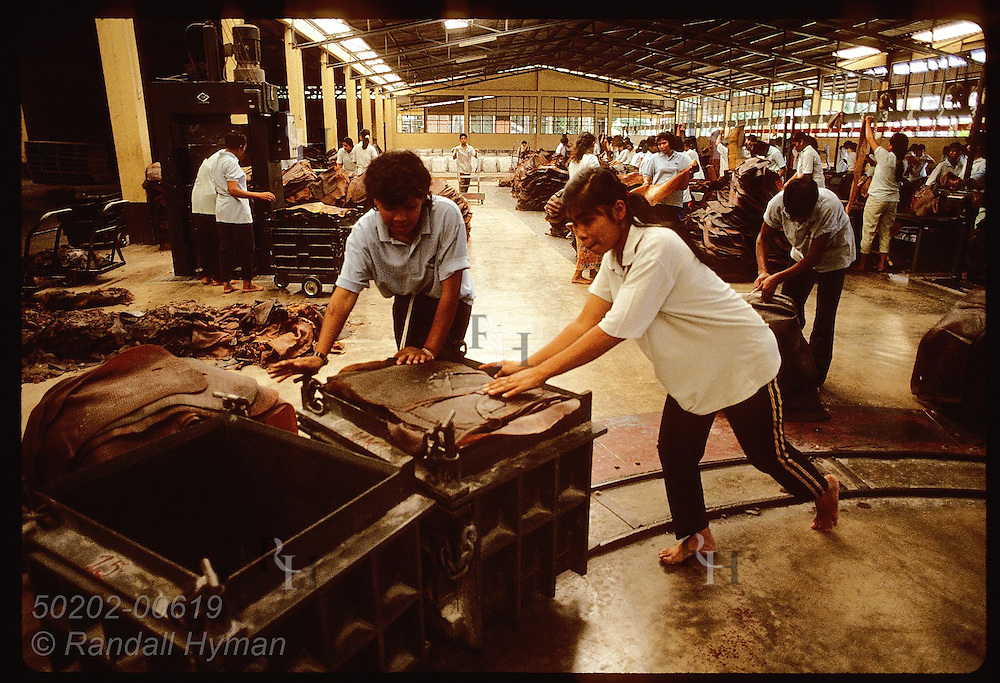 Women roll cart of rubber mats on rails into industrial press at United Krabi Rubber Company. Thailand