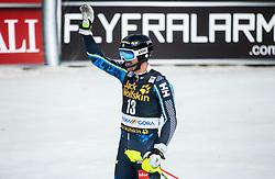 MYHRER Andre of Sweden celebrates during the Audi FIS Alpine Ski World Cup Men's Slalom 58th Vitranc Cup 2019 on March 10, 2019 in Podkoren, Kranjska Gora, Slovenia. Photo by Matic Ritonja / Sportida