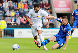 Peterborough United's Kyle Vassell in action with Rochdale's Matty Lund - Photo mandatory by-line: Joe Dent/JMP - Mobile: 07966 386802 09/08/2014 - SPORT - FOOTBALL - Rochdale - Spotland Stadium - Rochdale AFC v Peterborough United - Sky Bet League One - First game of the season