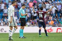 Real Madrid's Cristiano Ronaldo and Eibar's Dani Garcia during the match of La Liga between Real Madrid and SD Eibar at Santiago Bernabeu Stadium in Madrid. October 02, 2016. (ALTERPHOTOS/Rodrigo Jimenez)