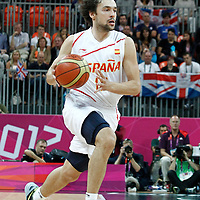 02 August 2012: Spain Sergio Llull goes for the fast break during 79-78 Team Spain victory over Team Great Britain, during the men's basketball preliminary, at the Basketball Arena, in London, Great Britain.