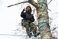 Steeple Claydon, UK. 24 February, 2021. A tree-climbing activist takes a selfie on the second day of an eviction by HS2 Ltd from ancient woodland known as Poors Piece of activists opposed to the HS2 high-speed rail link. The activists created the Poors Piece Conservation Project there in spring 2020 after having been invited to stay on the land by its owner, farmer Clive Higgins. Already, local village communities have been hugely impacted by HS2, with 550 acres of land seized including a large section of a nature reserve.