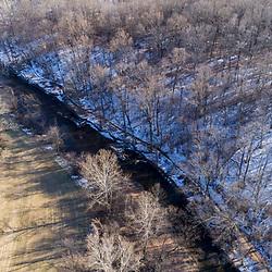 Big Elk Creek in early spring. Elk Township, Pennsylvania.