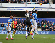 Queens Park Rangers goalkeeper, Alex Smithies (25) with a punch during the Sky Bet Championship match between Queens Park Rangers and Birmingham City at the Loftus Road Stadium, London, England on 27 February 2016. Photo by Matthew Redman.