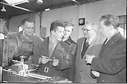 21/02/1963.02/21/1963.21 February 1963.Teachers tour Bord na Mona workshops. Vocational school teachers, whose past pupils include Bord na Mona apprntices, were guests at three of the Board's workshops., to study the organisation of the workshops and watch apprntices on the job. Senior Apprentices John Glennon and Kevin Whelehan meet their former teachers Mr. T. Flemming (left) and Mr. W. Finch at Derrygreenagh milled-peat works, Offaly during the tour. Right is Mr. A. Killeen of Bord na Mona.