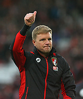 Football - 2016 / 2017 Premier League - Southampton vs.AFC Bournemouth<br /> <br /> Bournemouth's Manager Eddie Howe gives a thumbs up to the Bournemouth supporters after the final whistle at St Mary's Stadium Southampton<br /> <br /> COLORSPORT/SHAUN BOGGUST