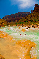 Water slide in the Little Colorado River (at the confluence of the Colorado River), Grand Canyon National Park, Arizona USA