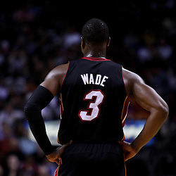 March 10, 2011; Miami, FL, USA; Miami Heat shooting guard Dwyane Wade (3) against the Los Angeles Lakers during the first quarter at the American Airlines Arena.  Mandatory Credit: Derick E. Hingle