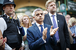 June 14, 2017 - London, London, UK - London, UK. Mayor of London SADIQ KHAN attends the reopening of Borough Market in London as it reopens on 14 June 2017, following a terror attack that killed 8 people over a week ago. (Credit Image: © Tolga Akmen/London News Pictures via ZUMA Wire)