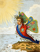 The great South Sea caterpillar, transform's into a Bath butterfly by James Gillray 1756-1815. 1795 July 4th. Cartoon shows the metamorphosis of Sir Joseph Banks from a caterpillar to a butterfly upon his investiture with the Order of the Bath as a result of his South Sea expedition. Draped with the ribbon, and wearing the jewel, of Bath, he rises, chrysalis shaped, from the mudflats on butterfly wings emblazoned with sea creatures towards a radiant sun enclosing a crown.