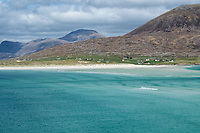 View over Azure waters of Seilebost beach towards Luskentyre, Isle of Harris, Outer Hebrides, Scotland