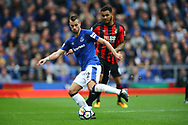 Morgan Schneiderlin of Everton passes the ball under pressure from Joshua King of Bournemouth. Premier league match, Everton vs Bournemouth at Goodison Park in Liverpool, Merseyside on Saturday 23rd September 2017.<br /> pic by Chris Stading, Andrew Orchard sports photography.