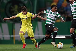February 14, 2019 - Lisbon, Portugal - Sporting's midfielder Wendel from Brazil (R ) vies with Villarreal's midfielder Santiago Caseres during the UEFA Europa League Round of 32 First Leg football match Sporting CP vs Villarreal CF at Alvalade stadium in Lisbon, Portugal on February 14, 2019. (Credit Image: © Pedro Fiuza/ZUMA Wire)