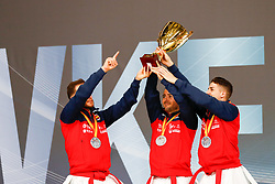 November 11, 2018 - Madrid, Madrid, Spain - Spain Team with silver medal of male Kata Team during the Finals of Karate World Championship celebrates in Wizink Center, Madrid, Spain, on November 11th, 2018. (Credit Image: © AFP7 via ZUMA Wire)