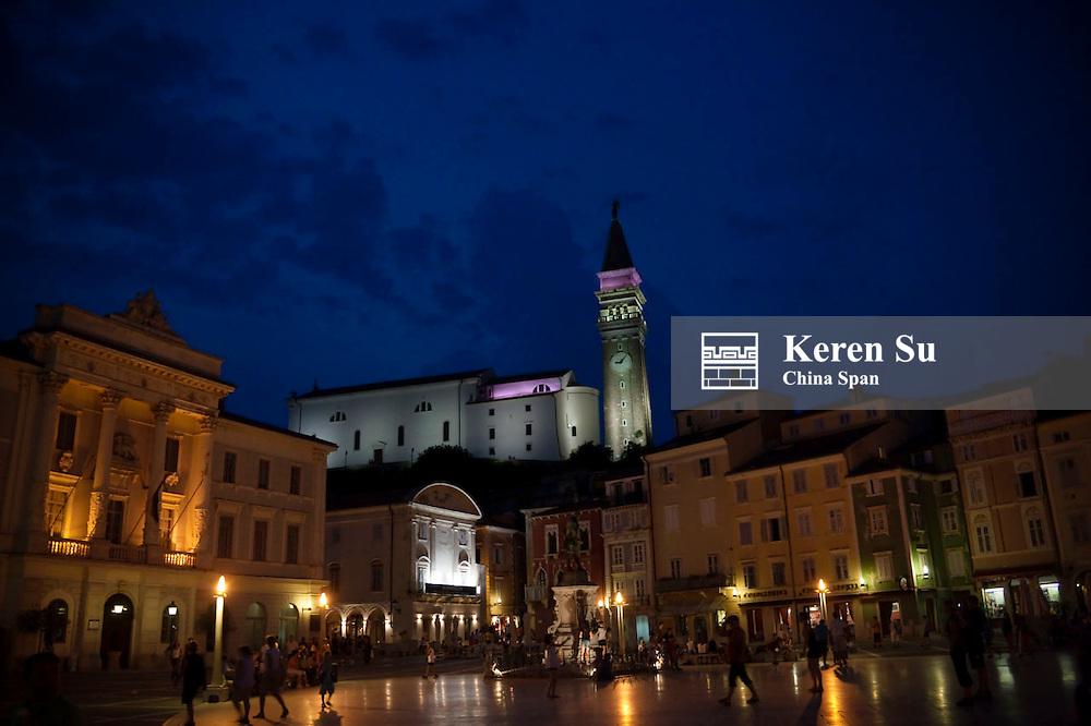 Night view of Tartini Square in Piran, Slovenia