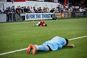Players down during the 4 - 2 victory for Karpatalya red against Szekely Land blue during the Conifa Paddy Power World Football Cup semi finals on the 7th June 2018 at Carshalton Athletic Football Club in the United Kingdom. The CONIFA World Football Cup is an international football tournament organised by CONIFA, an umbrella association for states, minorities, stateless peoples and regions unaffiliated with FIFA.