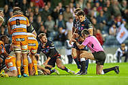 Referee Marius Mitrea indicates the ball was held up during the Guinness Pro 14 2018_19 match between Edinburgh Rugby and Toyota Cheetahs at BT Murrayfield Stadium, Edinburgh, Scotland on 5 October 2018.