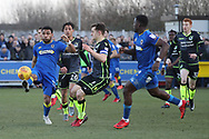 AFC Wimbledon striker Andy Barcham (17) trying to control the ball in the box during the EFL Sky Bet League 1 match between AFC Wimbledon and Bristol Rovers at the Cherry Red Records Stadium, Kingston, England on 17 February 2018. Picture by Matthew Redman.