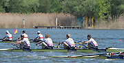 Brandenburg. GERMANY. GBR LM4-, Bow Chris BARTLEY, Mark ALDRED, Jonno CLEGG and Peter CHAMBERS. 2016 European Rowing Championships at the Regattastrecke Beetzsee<br /> <br /> Sunday  08/05/2016<br /> <br /> [Mandatory Credit; Peter SPURRIER/Intersport-images]