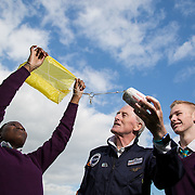 05.10.2016       <br /> European Space Education Resource Office (ESERO) Ireland and the CEIA – Cork's Technology Network – are calling on secondary school students to take their first step into the world of space exploration. Teams of senior cycle students from across Ireland are being asked to design, build and launch mini-satellites in the shape of a soft drink can as part of the ESERO Ireland and CEIA CanSat Competition. <br /> <br /> Pictured at the launch were, Limerick man Cyril Bennis, Space Tourist with Thomond Community College students, Raissa Pululu and Adam Kelly at Limerick Institute of Technology.<br /> <br /> The competition, now in its seventh year, was officially launched today (Wednesday) in Limerick Institute of Technology by 'space tourist' and Limerick man Cyril Bennis, as part of National Space Week. Picture: Alan Place