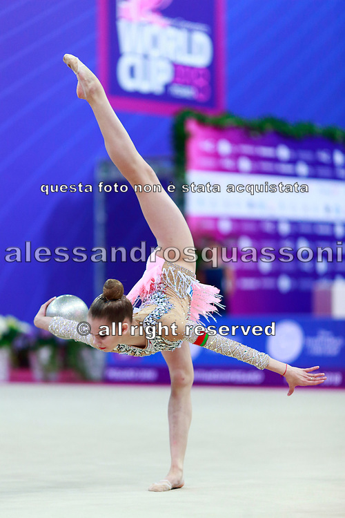 Salos Anastasiia during final at ball in Pesaro World Cup at Adriatic Arena on April 15, 2018. Anastasiia born on February 18 ,2002 in Barnaul. She is a rhythmic gymnast member of the Belarusian National Team.