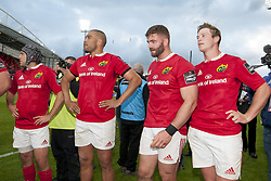 May 20, 2017 - Limerick, Irland - Duncan Williams, Simon Zebo, Jaco Taute and Tyler Bleyendaal of Munster after the Guinness PRO12 Semi-Final match between Munster Rugby and Ospreys at Thomond Park Stadium in Limerick, Ireland on May 20, 2017  (Credit Image: © Andrew Surma/NurPhoto via ZUMA Press)