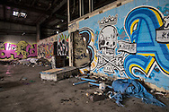 July 2 2015, Graffiti covers the interior and exterior of the former shopping center in New Orleans upper Ninth Ward, an area ravaged by Hurricane Katrina.