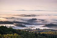 The Chianti landscape at sunrise in a foggy morning