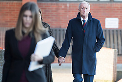 © Licensed to London News Pictures. 18/01/2018. Reading, UK. Television presenter CHRIS TARRANT arrives at Reading Magistrates Court with his partner JANE BIRD where he faces drink driving charges. The 71-year-old was reportedly stopped by police at 2. 30pm as he left the Bladebone Inn, in Bucklebury, Berkshire. Photo credit: Ben Cawthra/LNP