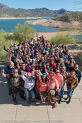 Group photo with Laura Klock, Sara Shope, Jeri Buckingham, Cat Hammes, Diva Amy, Valerie Thompson, Karlee Cobb, Brian Klock, Johnnie Zappia and many others during her Helping with Horsepower Ride on Wednesday of Arizona Bike Week 2014. USA. April 3, 2014.  Photography ©2014 Michael Lichter.
