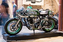 "Bryan Fuller's (Fuller Moto - Atlanta, GA) 1968 Norton Commando named ""MistyGreen"" on Saturday at the Handbuilt Motorcycle Show. Austin, TX. April 11, 2015.  Photography ©2015 Michael Lichter."