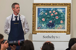 © Licensed to London News Pictures. 26/02/2019. LONDON, UK. ''Vase De Roses'' by Marc Chagall, (Est. £1,500,000 - 2,000,000) sold for a hammer price of £1,500,000 at Sotheby's Impressionist, Modern and Surrealist Art Evening Sale in New Bond Street.  Photo credit: Stephen Chung/LNP