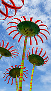 Sonic Bloom by Dan Corson. Solar cells make each flower sing by day and light at night at Pacific Science Center, Seattle Center, Washington, USA.