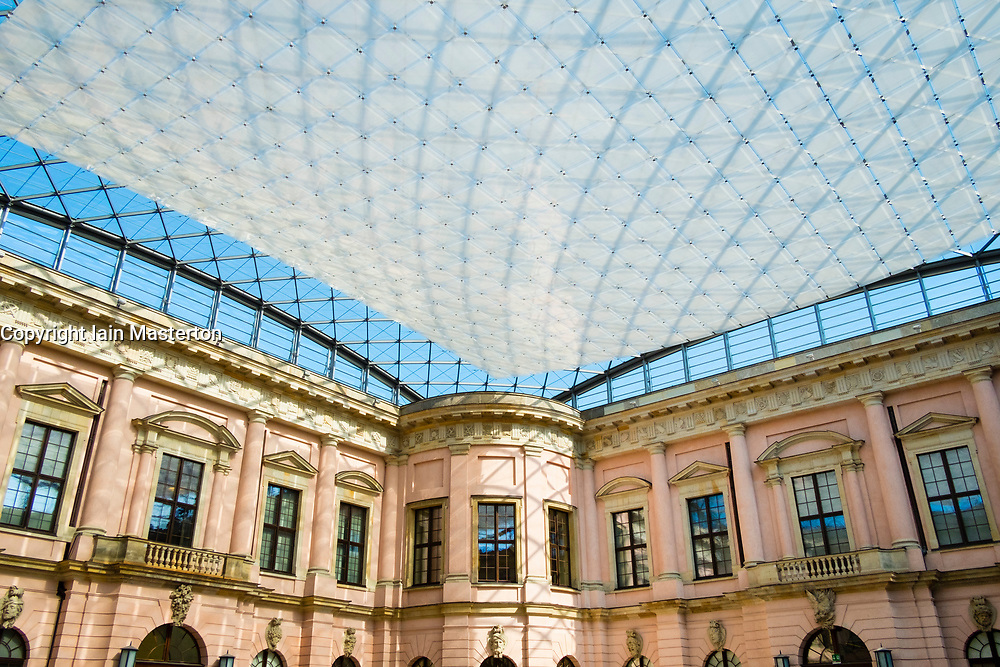View of contrast between modern roof  and old building at Historical Museum in Berlin, Germany