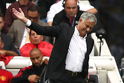 Manchester United manager Jose Mourinho appears frustrated during the game
