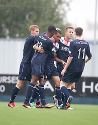 Falkirk's Phil Roberts celebrates after scoring their first goal.<br /> Falkirk 1 v 2 Dumbarton, Scottish Championship game played today at the Falkirk Stadium.<br /> ©Michael Schofield.