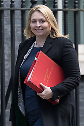 © Licensed to London News Pictures. 28/02/2017. LONDON, UK.  Secretary of State for Culture, Media and Sport, Karen Bradley arrives for a cabinet meeting at 10 Downing Street.  Photo credit: Vickie Flores/LNP