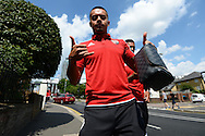 Andre Gray of Brentford poses for a photo outside Griffin Park before k/o. Skybet football league Championship match, Brentford v Ipswich Town at Griffin Park in London on Saturday 8th August 2015.<br /> pic by John Patrick Fletcher, Andrew Orchard sports photography.