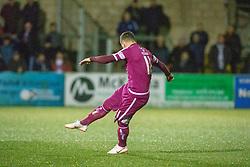 Arbroath's Bobby Linn scoring their third goal. Forfar Athletic 2 v 3 Arbroath, Scottish Football League Division One played 8/12/2018 at Forfar Athletic's home ground, Station Park, Forfar.
