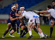 Exeter Chiefs lock Sean Lonsdale runs into Sale Sharks flanker Jono Ross during a Gallagher Premiership Round 11 Rugby Union match, Friday, Feb 26, 2021, in Eccles, United Kingdom. (Steve Flynn/Image of Sport)