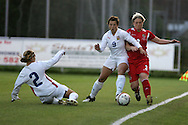 2011 FIFA Women's World Cup Qualifying match, Wales v Czech Republic at Stebonheath Park, Llanelli on Wed 23rd September 2009. pic by Andrew Orchard..Lauren Townsend of Wales is tackled by Markova (9) and Divisova (2)