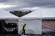 Lehigh Valley Health Network holds a COVID-19 drive-through vaccination clinic Jan. 27, 2021, at Dorney Park in Allentown, Pennsylvania. Community members 75 and older were eligible to receive their first dose with an appointment scheduled ahead of time. (Photo by Matt Smith)