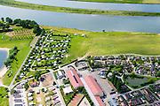 Nederland, Gelderland, Gemeente Buren, 26-06-2013; Eiland van Maurik, camping aan de oevers van de Neder-rijn.<br /> luchtfoto (toeslag op standaard tarieven);<br /> aerial photo (additional fee required);<br /> copyright foto/photo Siebe Swart.