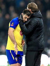 Southampton manager Ralph Hasenhuttl (right) and Southampton's Charlie Austin during the Emirates FA Cup, third round match at Pride Park, Derby.