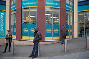 People outside Poundland pound shop in Birmingham, United Kingdom. Poundland is a British variety store chain founded in 1990 that sells most items in its stores for £1, stocking over 3,000 products and employing 18,000 staff. Like many of its rivals, Poundland operate a constantly rotating product line, including brand name and clearance items as well as many own brand.