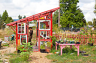 Naomi's Organic Farm Supply is a family-owned shop with a wide range of organic products including: soil amendments and fertilizer, seeds, straw, hay, compost, potting soils, livestock feeds, salts, supplements, chicken supplies, pet foods, hand tools & lots of books. Naomi Montacre in the adorable greenhouse made from re-claimed materials.