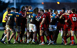 Harlequins Marland Yarde and Edinburgh Rugby's Tom Brown during a scuffle that broke out after an incident between Edinburgh Rugby's Magnus Bradbury and Harlequins' Kyle Sinckler during the European Challenge Cup, pool five match at Twickenham Stoop, London.