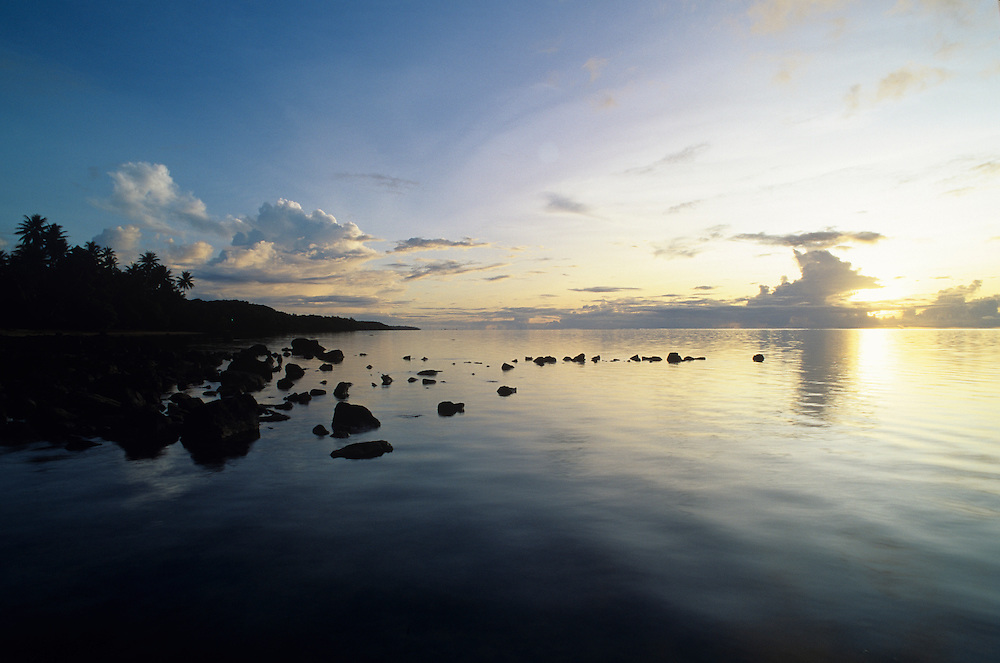 Raeng sunset oceanscape,Yap, Wa`ab, Waqab, Federated States of Micronesia, islands in the Caroline Islands